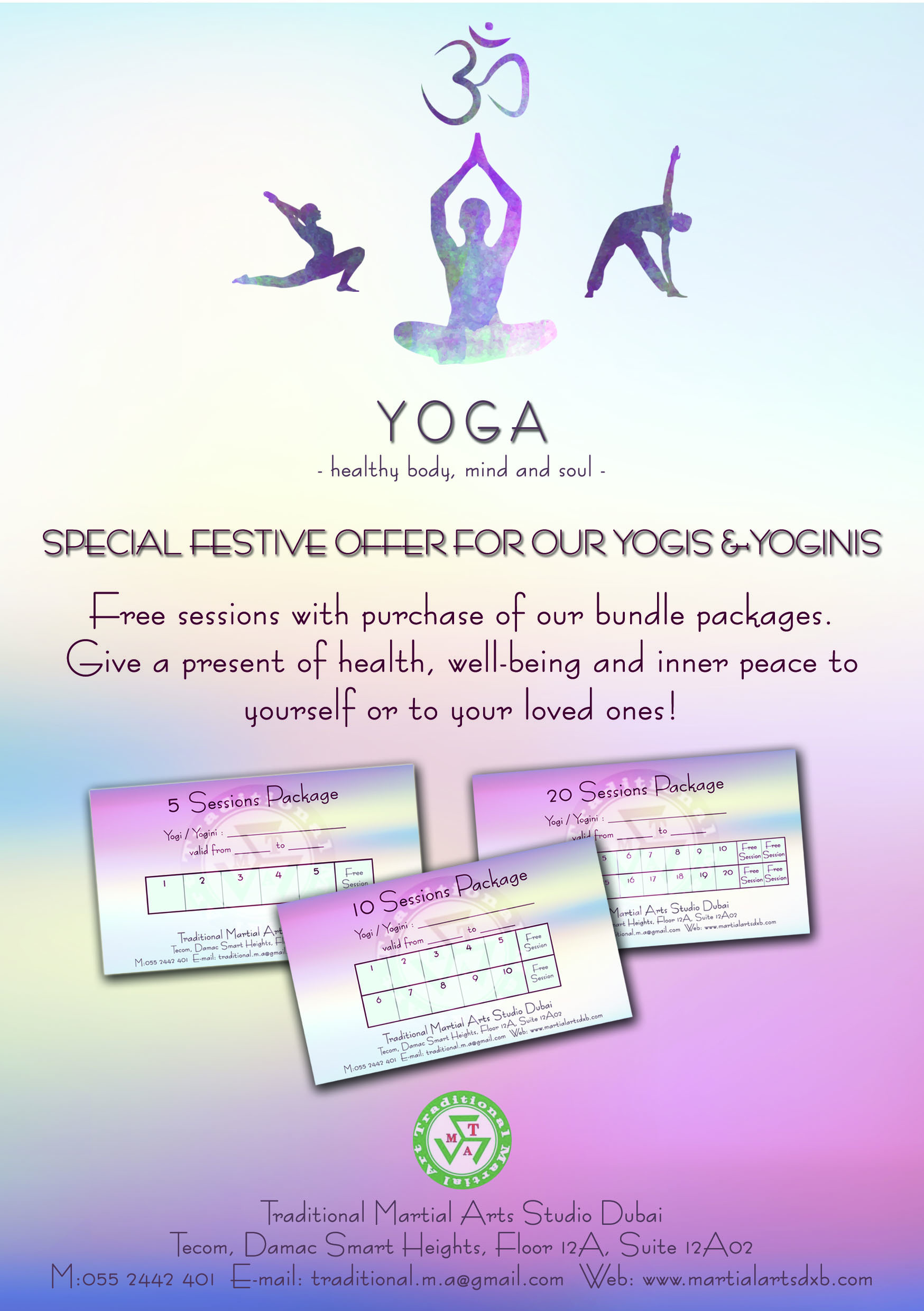 enjoy free sessions upon purchase of any of our yoga bundle packages!